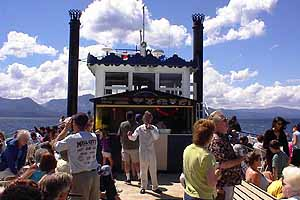 McAvoy Layne led the cheers aboard the Tahoe Queen