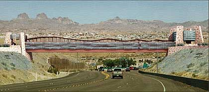 The pedestrian bridge over the highway into Laughlin from US 95 connects the familiar
