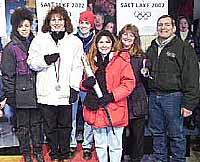 The Nevada Olympic Team: Shar Peterson, Rogene Hill, Season Berg, Sheree Tibbals, Nancy Johnson and Dave Roden