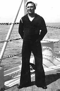Andrew Levering aboard the USS Nevada in the 1930s.