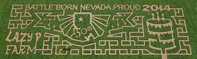 2014 corn maze, Lazy P Adventure Farm, Winnemucca Nevada