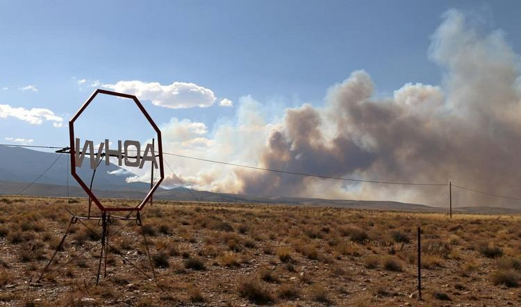 The Strawberry Fire viewed from Nevada Highway 487 near Baker