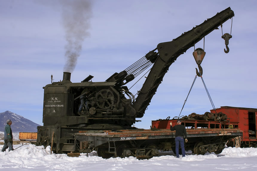Nevada Northern's steam-powered wrecking crane