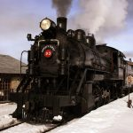 Nevada Northern Railway Locomotive No. 93 brings an ore train in the railyard