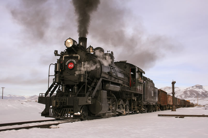 Nevada Northern Railway Locomotive No. 93 pulls a train of ore cars into the railyard