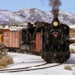 Nevada Northern Railway Locomotive No. 93 pulls a wreck recovery train