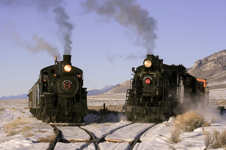 "Two Nevada Northern Railway trains ""pose"" for a photograph at Hi Line Junction, in the Steptoe Valley east of Ely"