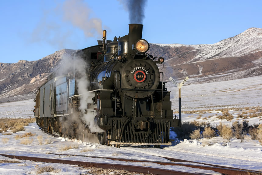 Nevada Northern Railway Locomotive No. 40 leads a passenger train off the High Line and onto the main line at High Line Junction