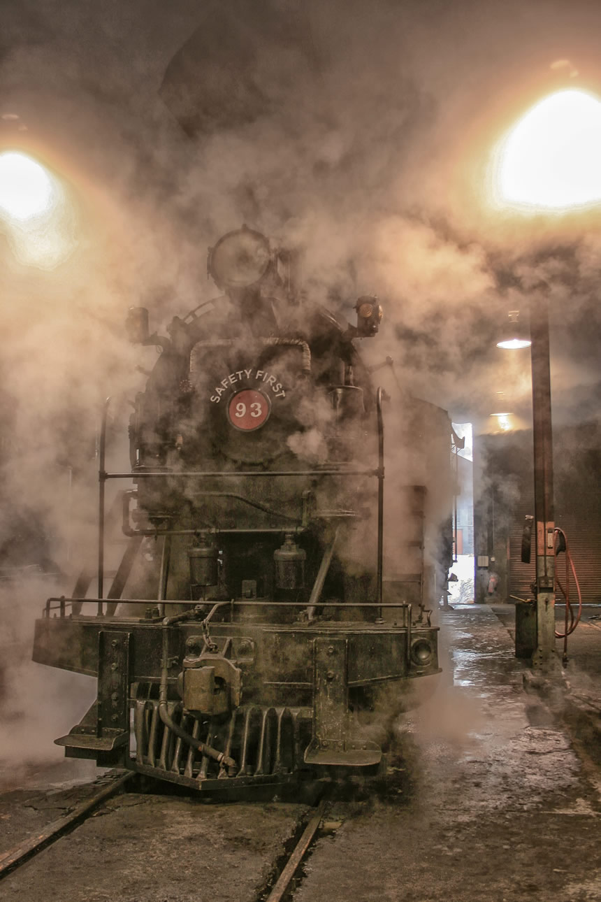 Nevada Northern Railway Locomotive No. 93, wreathed in steam