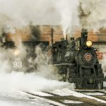 Nevada Northern Railway Locomotive No. 40 rolls out of the enginehouse