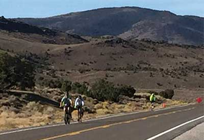 Three bikers on US 50 for the 2018 OATBRAN