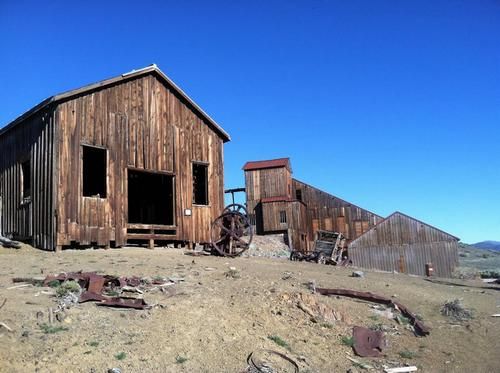 The mining camp of Berlin, Nevada, at the foot of the western slope of the Shoshone Range, is now preserved in a state of arrested decay as a part of Berlin-Icthyosaur State Park. (Photo by the author)