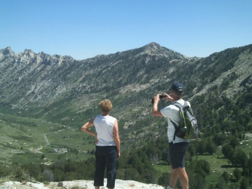 Australian visitors Marg and Colin taking in the alpine view of Lamoille Canyon.