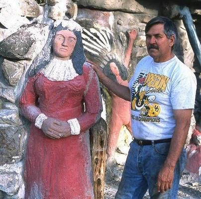 Dan Van Zant with a statue of Sarah Winnemucca created by his father