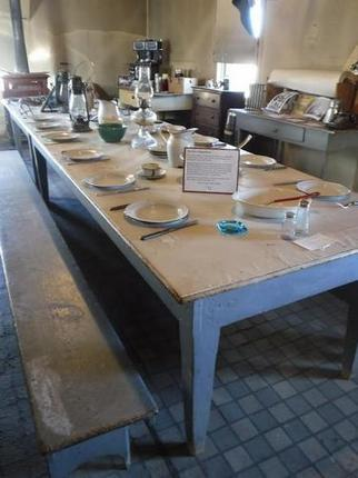 Long ago, over a dozen hungry ranch hands chowed down at this rude but functional table at the old Dangberg ranch house.