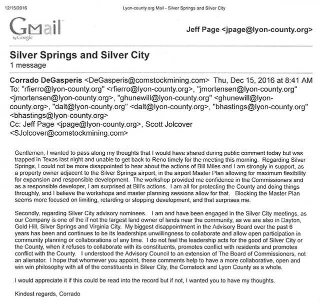 Corrado De Gasperis email to Lyon County Commissioners