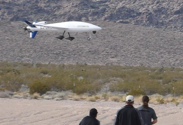 An experimental drone being demonstrated by Unmanned Aerial Systems, Inc. at the airport in Alamo. The company is planning to use Alamo as its Nevada base for research, development and training.