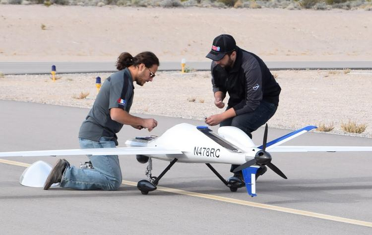 Experimental drone being prepared for a demonstration flight in Alamo