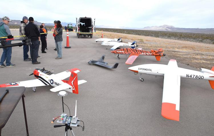 Several of the experimental drones that were demonstrated at the Alamo Airport by Unmanned Aerial Systems, Inc.