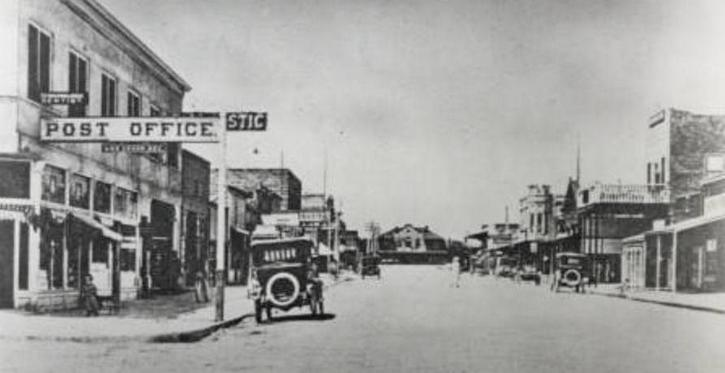 Fremont Street about 1915, with the he original Union Pacific Railroad Station on Main Street at center. Photo credit: University of Nevada, Las Vegas, University Libraries