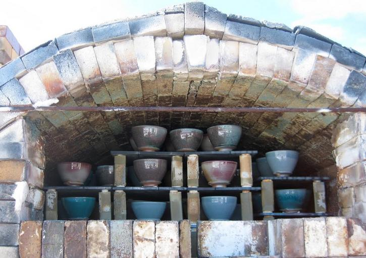 """Recently fired """"Souper Bowls"""" made by Ben Parks, yet to be removed from his kiln in Tuscarora."""