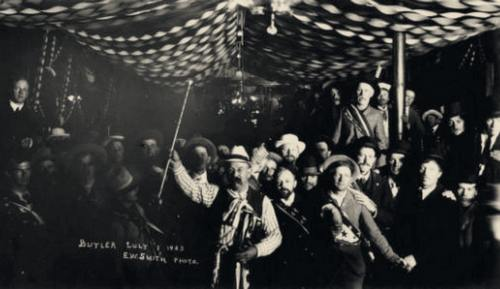Tonopah's founder, Jim Butler, presiding over festivities in Tonopah,1903. (UNLV Libraries photo)