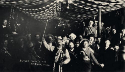 Tonopah's founder, Jim Butler, presiding over festivities in Tonopah,1903. (UNLV Libraries photo)