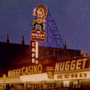 Last Chance Joe's Eureka Moment. The 1955 Carson Nugget sign: Joe had a miner's gold pan in one hand and a gold nugget held aloft in the other.