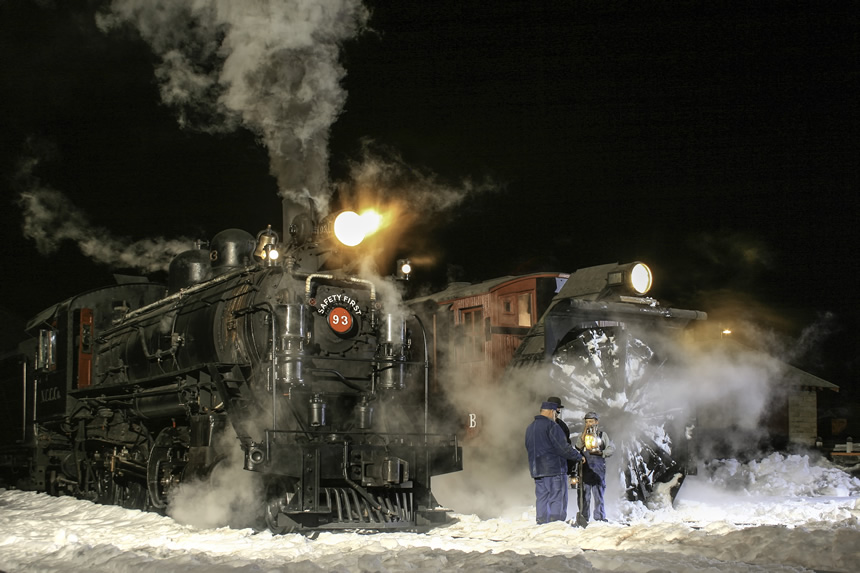 Locomotive 93 and Snowplow B