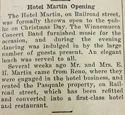 12/28/1915 Silver State clipping: Hotel Martin Opening