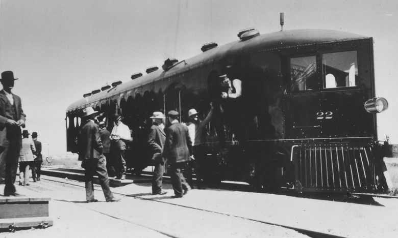 Maiden run of Virginia & Truckee No. 22, McKeen Motor Car No. 70, at Minden,1910.