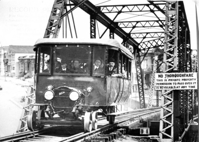 "V&T Car No. 23, the ""Canary,"" being tested on Southern Pacific track at Dolores Street, San Francisco; July 15, 1917. (White Co. Photograph)"