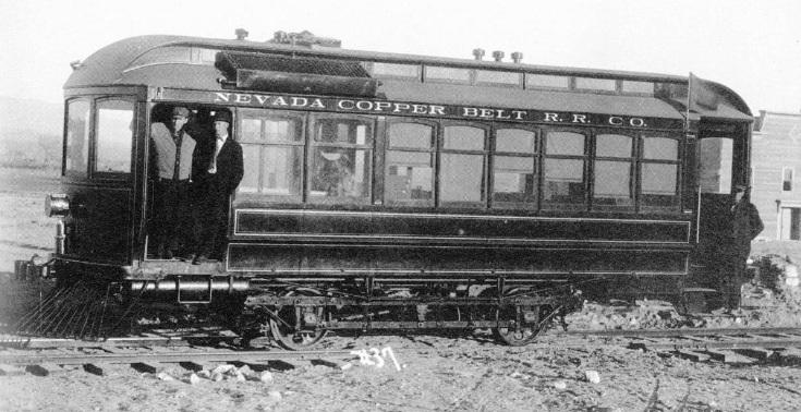 Nevada Copper Belt Railroad No. 20, a 1909 Model 24 Fairbanks Morse motor car that operated between Mason and Wabuska in Lyon County. (Postcard photo courtesy of Robert Greenwood)