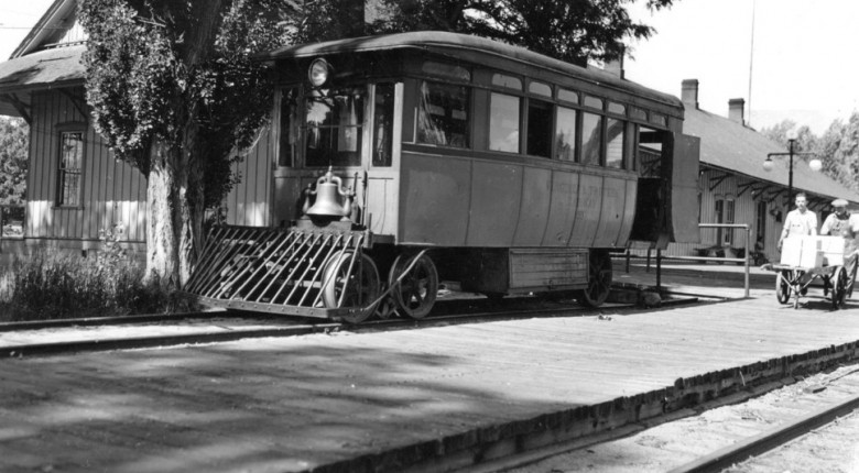 V&T motor car No. 99 at the Carson City depot, June 6, 1938. No. 99 had a chassis and engine made by the White Motor Company of Cleveland and a handsome carbody built by the San Francisco coachbuilders Thomson-Graf-Edler. (David J. Welch photograph)