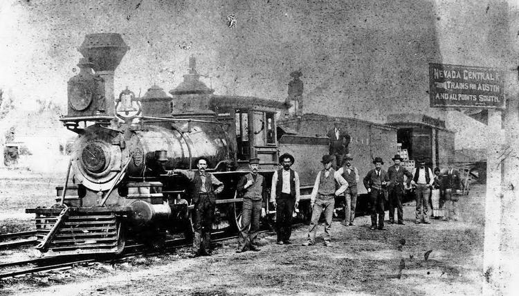 Nevada Central Railroad 4-4-0 locomotive No. 5 at Battle Mountain. Nevada Central trains transported bullion from the mines at Berlin from Austin to Battle Mountain, where the Nevada Central connected with the transcontinental railroad. (Photo courtesy of Nevada State Railroad Museum)