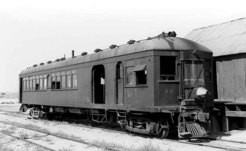 Nevada Copper Belt No. 22, the steel-bodied Hall-Scott motor car that the railroad's crews preferred to the older, wood-bodied Hall-Scott motor car No. 21, in 1940.