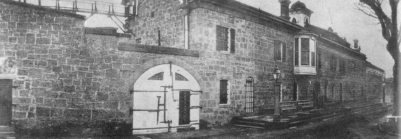 The Nevada State Prison as it appeared from the outside in the 1870s.