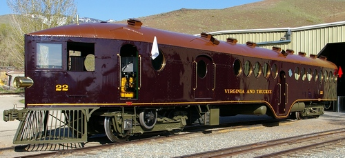 The beautifully restored V&T Railway McKeen Motor Car at the Nevada State Railroad Museum in Carson City