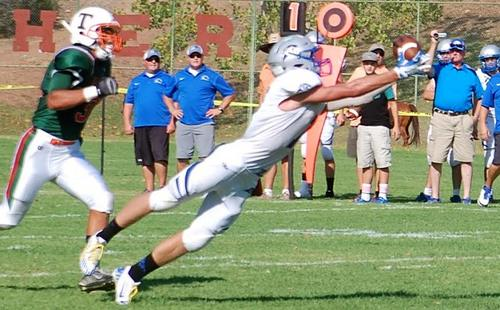 Pahranagat's Shawn Wadsworth stretches out for a first down catch in the game at Thacher Academy in Ojai, California, Sept. 11