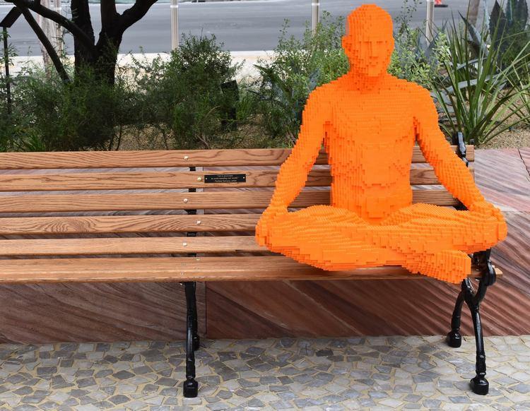 "One of artist Nathan Sawaya's ""Park People."" (Photo courtesy of New York - New York Hotel & Casino)"
