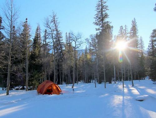 Snowy campsite at Wheeler Peak Campground