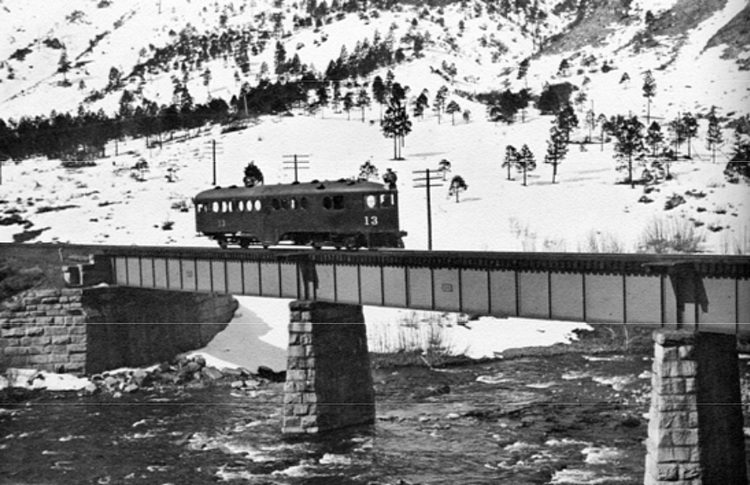 Southern Pacific McKeen motor car No. 13 in the Truckee River Canyon between Verdi, Nevada and Truckee, California