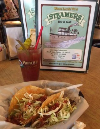 Steamers' fish taco & bloody mary