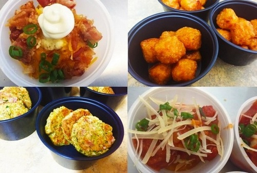 "Four of scores of ""Tater-Tot creations"": clockwise from top left, Bacon Cheese Tots, Sweet Potato Tots, Italian Tots, & Zucchini Tots."