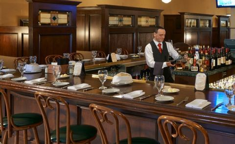 The Triple George Grill's handsome turn-of-the-century style barroom