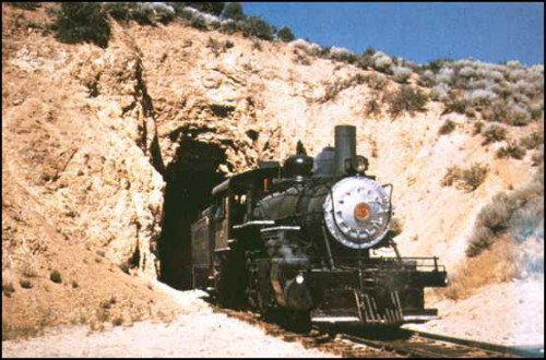 V & T train exiting American Flat Tunnel. (Courtesy Mark McLaughlin)