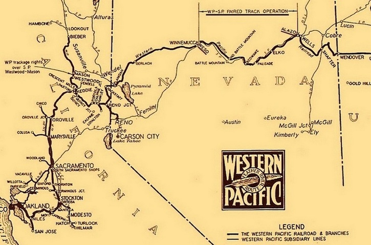 "This 1939 Western Pacific Railroad map shows the area of ""W.P. - S.P. Paired Track Operation"" between Weso, Nevada, on the west end, and Alazon, Nevada, on the east end."