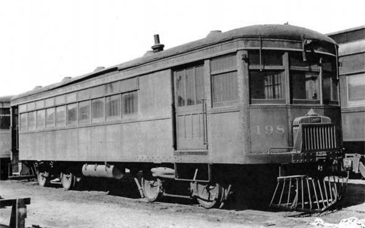 Western Pacific motor car No. 198 was one of two motor cars employed on the W.P.'s Reno Branch in the late 1920s