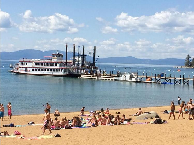 Zepyhr Cove Beach and Pier, with the paddle wheelers M.S. Dixie and Tahoe Queen