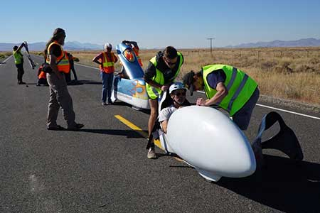 The morning heat at the World's Fastest Human-Powered Speed Championship in Battle Mountain Nevada